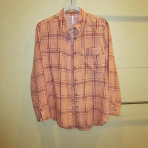 Free People No Limits Plaid Button Down Shirt  XS